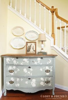 Milk Paint Dresser Furniture Makeover: This old oak dresser gets a minty fresh makeover with Laylas Mint Milk Paint from Miss Mustard See. See the step by step here.