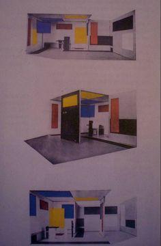 Rietveld, projet d'intérieur « Composition Espace Couleur », en collaboration avec Vilmos Huszar, 1923, pour la Juryfreie Kunstchau de Berlin (repr. L'Architecture vivante, Paris, automne 1924).