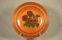 12 Hand Crafted Wood Wooden Floral Flower Plate, Pansies