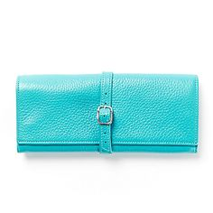 Blue Buckled Jewelry Roll | Full Grain Teal Leather $50 http://www.leatherology.com/catalog/product/view/id/5006/s/buckled-jewelry-roll-blue-leather-teal/category/16/