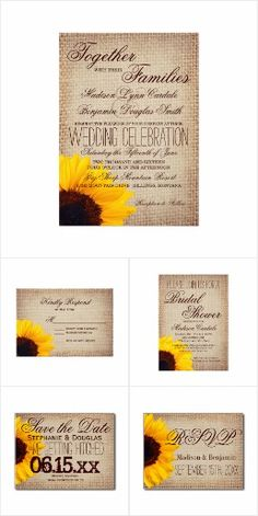Burlap and Sunflower Wedding Invitation Set