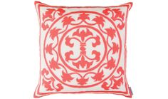 Lili Decorative Square Pillow | White Coral | Lucky Den  Elaborate prints, plush fabric and elegant details define this unique oversize coral pillow embroidered onto white linen and Perfect for Mom on Mother's Day.