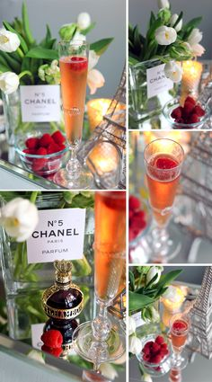 1 oz Chambord in a Champagne flute and fill with chilled Champagne. Garnish with a raspberry || French Inspired Dinner