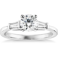Blue Nile 3/4 Carat Preset Tapered Baguette Diamond Engagement Ring ($2,700) ❤ liked on Polyvore featuring jewelry, rings, 14k ring, channel set diamond ring, channel set ring, engagement rings and round cut diamond rings