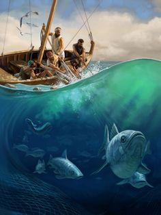 Dans leur bateau, des pêcheurs remontent un filet de pêche rempli de poissons