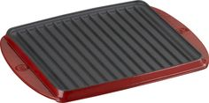 Mario Batali Red Reversible Grill-Sear Pan in Griddles, Grill Pans | Crate and Barrel