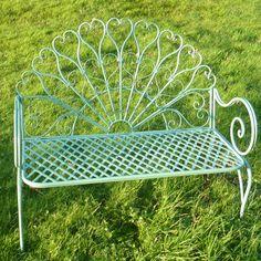 Metal Garden Bench Seat Chair Patio Furniture Yard Balcony Party Wedding Green