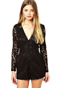 0021e0a18bd Black V Neck Long Sleeve Sexy Lace Romper  Black  Romper  maykool Black Lace