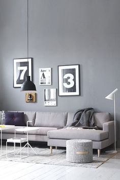 gray= a soothing & cool color suitable for many rooms. It's a great backdrop to artwork and bold colors. #gray