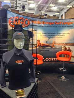 The new PaddleAir Ergo Sun Hoodie featured in the PaddleAir Ergo booth at The Boardroom International Surfboard Show, May 17-18, 2014, Del Mar Fairgrounds, California.