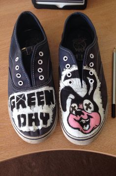 86d53006b5 Green Day shoes painted with acrylic for my friend Sophie. A perfect  example of having too much time on my hands