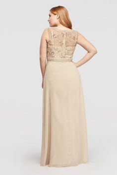 This fun and elegant sleeveless motherof the bridedress will shine at your next formal party or wedding. The bodice of this flattering dress is designed with an embellished sweetheart neckline and sheer overlay sewn with scrolling beads, rhinestones, and pearls.  By Decode  Chiffon  Back Zipper; Fully lined withImported polyester.  Dry clean. Do not apply chemical detergent to beaded area. No direct heat or steam on beads or applique.  Imported Protect your dress before you