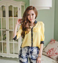 J70939 Korean Fashion Color Matching Temperament Shirt Product Detail: COLOR:  Yellow, Pink FABRIC:  Nanometer silk WEIGHT:  0.220kg SIZE: Free LENGTH: 67cm, Bust: 94cm, Waist: 102cm, Shoulder: 39cm, Sleeve Length: 38cm
