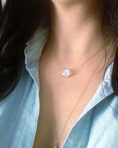 Floating Moonstone 14k Gold  Necklace | JewelryTutusBowsOhMy via Etsy