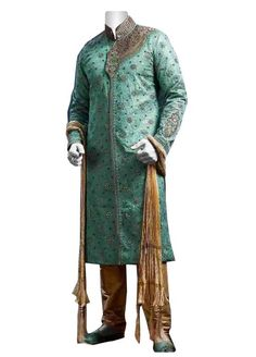 Groom's having #green colored of #sherwani can put off the look and design of the #outfit as well as you.