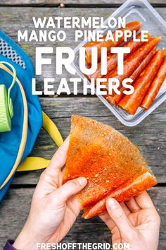 This easy fruit leather recipe is inspired by LA's fruit carts: chili dusted watermelon, mango, and pineapple. This would be a great hiking snack! Includes instructions for making fruit leathers in a dehydrator OR oven. Mango Chili Recipe, Mango Recipes, Dried Mango With Chili Recipe, Juicer Recipes, Detox Recipes, Salad Recipes, Snack Recipes, Hiking Food, Backpacking Food