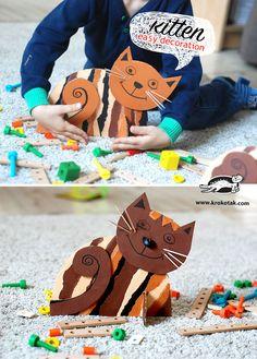 A delightful cardboard cat from Krokotak