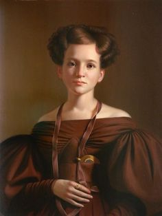 Artwork by American School, 19th Century, Woman in Brown Dress, Made of Oil on panel