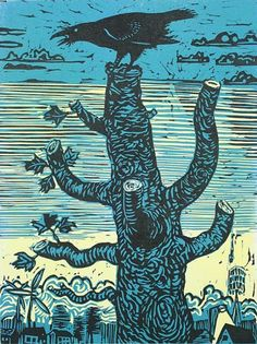 Robert Patierno. Crow on Maple, 2013. Linocut. Edition 2/30. 16 x 12 inches.