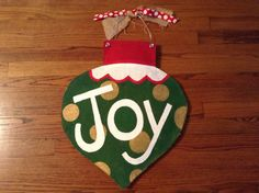 Christmas ornament  burlap door hanger by KittycatKates on Etsy, $20.00