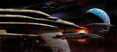 Star Wars: Return of the Jedi Concept Art by Ralph McQuarrie Ralph Mcquarrie, Star Wars Ships, Star Wars Art, Star Trek, Admiral Ackbar, Full Hd Pictures, Star Wars Spaceships, 70s Sci Fi Art, Star Wars Concept Art