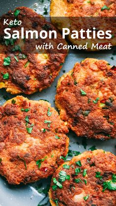 """Salmon Patties with Canned Meat """"An easy low carb keto salmon patties recipe that uses canned fish and pork rinds. It only takes minutes to make the patties and fry them in a pan."""" Keto Salmon Patties with Canned Meat – You must try this recipe. Ketogenic Recipes, Meat Recipes, Healthy Recipes, Ketogenic Diet, Keto Shrimp Recipes, Lunch Recipes, Dessert Recipes, Easy Low Carb Recipes, Pork Rind Recipes"""