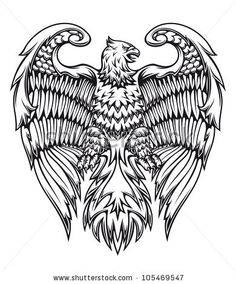 Powerful eagle or griffin in heraldic style. Jpeg version also available in gallery - stock vector