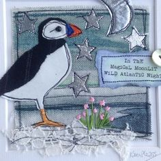 I only have to step outside the front doo. - Home Design Hand Work Embroidery, Free Motion Embroidery, Machine Embroidery Applique, Applique Patterns, Applique Designs, Sewing Patterns, Fabric Postcards, Fabric Cards, Quilting Projects