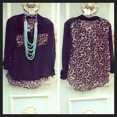 Sheer Leopard Print Top
