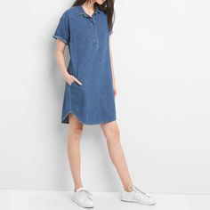 GAP Short Sleeve Denim Pullover Shirtdress #rankandstyle