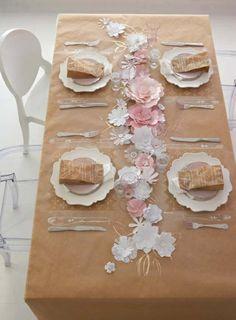 Tisch dekorieren Papier Blumenmuster Mädchen Geburtstag