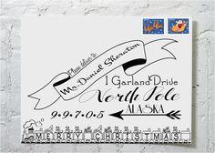 Christmas Card {train} Calligraphy Envelope Addressing via Etsy.