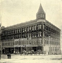 Circa 1900, the Denny-Coryell Building at 1st and University. Photo via Wikimedia Commons. Via Vintage Seattle on Facebook.