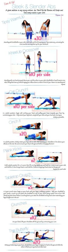 Tone it up! via this Sleek and Slender Abs exercise. A great addition to any toning workout. This exercise will . Fitness Workouts, Fitness Motivation, Fitness Routines, Toning Workouts, At Home Workouts, Daily Workouts, Fitness Quotes, Workout Quotes, Ab Exercises