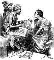 """Maiêutica:era a forma de fazer o parto, o conhecimento já nasceria com a pessoa, a maêutica ajudaria a """"parir"""" o conhecimento, """"só pare quem tem um bebê dentro de si"""" fazendo perguntas e questionamentos, sempre colocando o seu oponente em condições de perceber que ele sabe, mas não tem consciência disso. O retrato que Platão deixou para Sócrates foi o dos questionamentos, do que é o que é tudo isso partindo da premissa de que já se nasce com o conhecimento.Quando Sócrates proclama a célebre fr"""