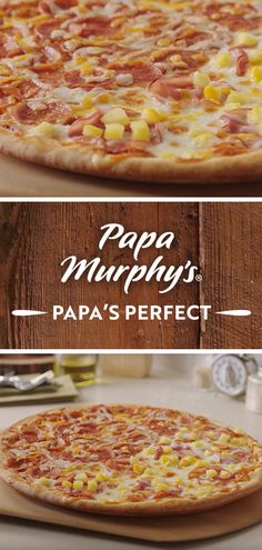 Can't decide on a pizza? Try the Papa's Perfect – the tasty combination that starts with our original crust and is topped with half Canadian Bacon and Pineapple, half Pepperoni. Pizza And More, Canadian Bacon, Menu Items, Pizza Recipes, Pepperoni, Halloween Party, Pineapple, Anna, Tasty