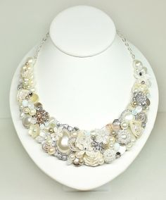 Champagne Pink Statement Necklace-Bridal Statement by BrassBoheme