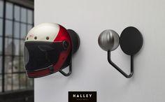 Halley Helmet Rack Give your motorcycle helmet it's own place in your home with the Halley Helmet Rack, a minimal approach to helmet storage. #helmet #helmetrack #helmethanger #helmetstorage #bell #bellhelmets #biltwell #motorbike #bellbullitt #helmetholder