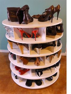 lazy susan turntable shoe storage