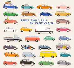 rose blake, illustrator, illustration, cars, vehicles, volkswagen, transport, colourful, hand drawn, painterly, graphic, naive, friendly, pastels, playful, bold