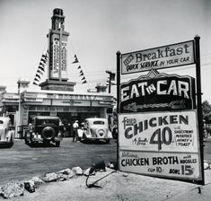 """Eat in Car"" early drive-in, Hollywood California, 1935  (By John Gutmann)"