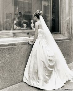 At Tiffany's.. Bridal shoot of gorgeous wedding gown in front of Tiffanys in New York City