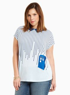 Geronimo! This Doctor Who top has us diving right in. The light blue knit is…