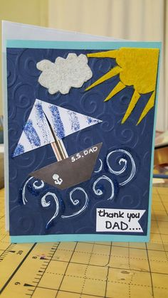 Father's day card using embossing folder, felt.