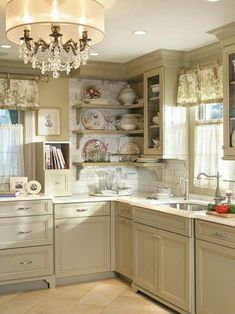 Looking for some great ideas to develop a shabby chic theme inside your new kitchen? Shabby Chic kitchen style has its own origins in traditional English and Shabby Chic Kitchen Cabinets, Shabby Chic Kitchen Decor, Shabby Chic Interiors, Shabby Chic Bedrooms, Kitchen Redo, Shabby Chic Homes, Shabby Chic Furniture, New Kitchen, Cottage Furniture