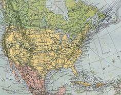 North America Original Vintage Map1910s