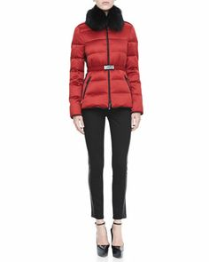 Belted Fur-Collar Puffer Jacket & Lambskin-Side Skinny Jeans by Burberry London at Bergdorf Goodman.