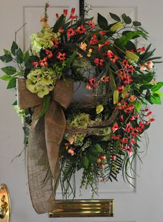 | Burlap Natural Spring Summer Front Door Wreath Red Coral Honeysuckle ...