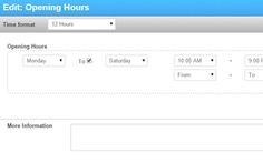 Openingsuren widget van SiteBuilder
