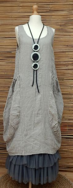 LAGENLOOK LINEN AMAZING STRIPED LONG TUNIC-DRESS*STONE/KHAKI*SIZE 12-16 OSFA in Clothes, Shoes & Accessories, Women's Clothing, Dresses | eBay